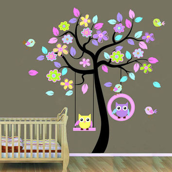 Wall Decals Nursery - Nursery Wall Decal - Tree Decal - Baby Girl Baby Boy Pink Blue Tree with Forest Friends - Owls and Birds -Wall Sticker