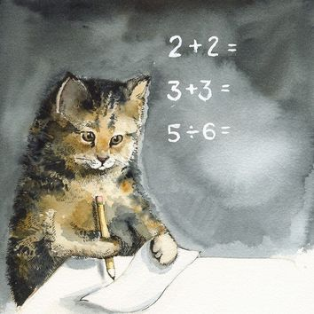 MATH  Cat art Cat Watercolor teacher student by amberalexander