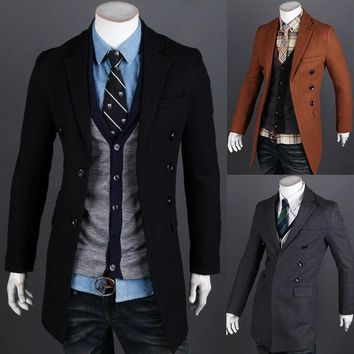 New 2014 Winter Casual Covered Buttons Woolen Mens Jackets Single Breasted Slim Fit Outerwear Fashion Thicken Man Coat M-XXL