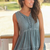Blue Sage Top with Embroidered Detail