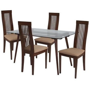 Willows 5 Piece Walnut Wood Dining Table Set with Glass Top and Framed Rail Back Design Wood Dining Chairs - Padded Seats