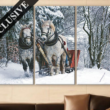 Large Wall Art Canvas Print 3 Panel Art Wall Hanging Horse Wall Art Winter Photo on Canvas Wall Decor for Home, Office Large Wall Decoration