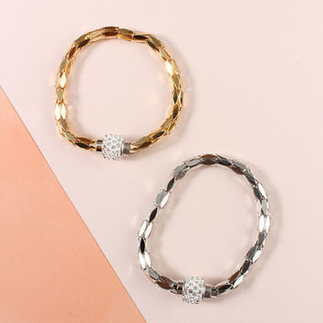 Magnetic Metal Sequin Bracelet