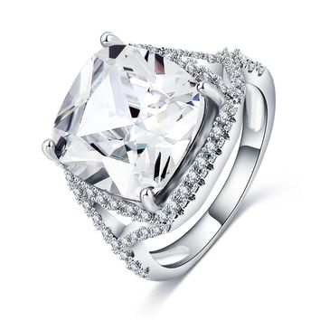 Luxury Big Cubic Zirconia Silver Color Rings for Women Wedding Bands Wife's gift Crystal Rings Charm Fashion Jewelry CRI0318