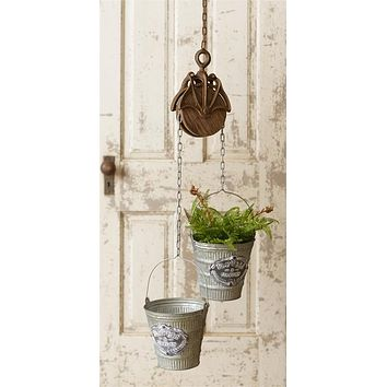 Flowers and Garden Duo Buckets with Rustic Pulley Hanger