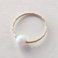 Seamless,Endless Septum Ring Fire Opal Bead,Upper Ear Daith Rook,Tragus,Cartilage Hoop Earring,Nose Ring,Eyebrow Piercing