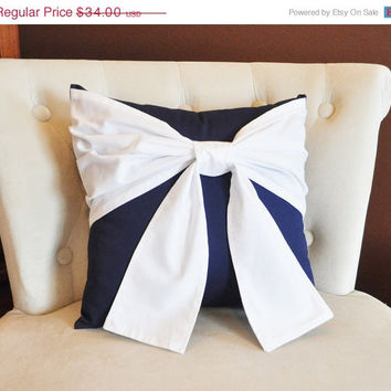 MOTHERS DAY SALE Throw Pillow White Bow on Navy Pillow 14x14 -Navy and White Pillow- Decorative Pillow-