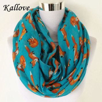 ONETOW New Fashion Fox Infinity Scarf Animal Scarf Small Fox Scarves in Beige Grey Loop Scarf Fox in Tan Shawls