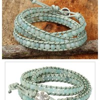 Amazonite and Hill Tribe Silver Wrap Handcrafted Bracelet - Sunny Flowers | NOVICA