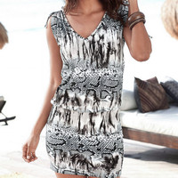 Ink Print Mini Bodycon Dress 11614