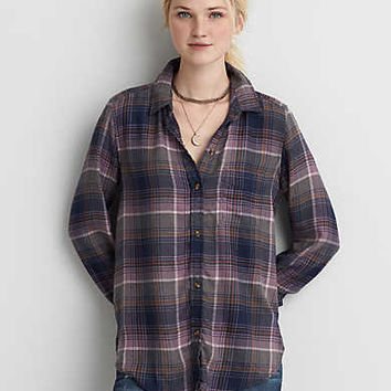 AEO Ahh-mazingly Soft Boyfriend Shirt, Plum