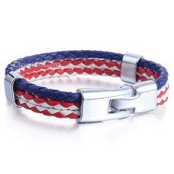 Mens Womens Dark Blue White Red US/American Flag Color 3 Strands Man-made Leather Bracelet Wristband Surf Jewelry LLB689
