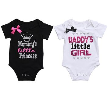 Girls Baby Clothes Summer Cute Daddy's Little Girl Letter Print Romper Short Sleeve Outfit Baby Clothing Top Black White