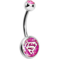 Pink Gem Glitter Superman Belly Ring | Body Candy Body Jewelry