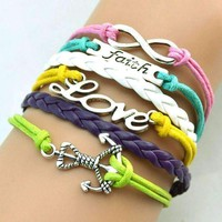 CLEARANCE - The Colors of Love Handmade Pastel Leather Friendship Bracelet