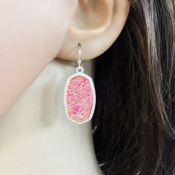 10 colors Resin drusy dangle earrings  imitation crystal stone druzy earings silver plated brand jewelry For women KS 71