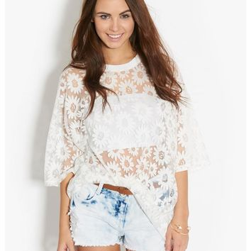 Glamorous Daisy Print T-Shirt - sheer from Bank Fashion | Tops ᵕ̈