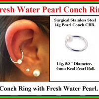 "STERILIZED 14 Gauge 5/8"" Diameter Surgical Steel with 6mm Fresh Water PEARL CONCH Captive Bead Ring."