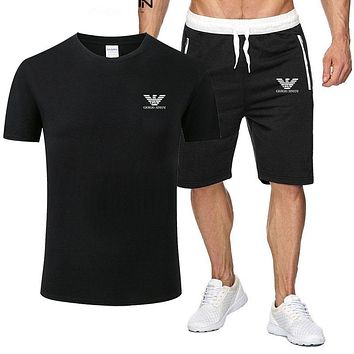 Armani Popular Men Leisure Print Short Sleeve Top Shorts Sport Set Two-Piece Black