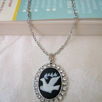 Cameo Necklace Dove with Olive Branch Swarovski Clear Crystals 18 Inch