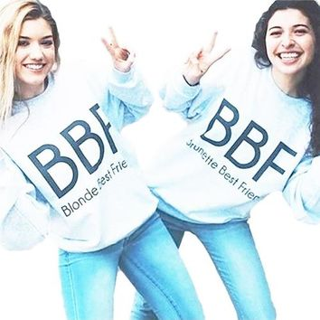 Gray Crewneck Blonde best friend Brunette Sweatshirt BFF Jumper Best Friend Gift Couples Matching Trendy Outfits Aesthetic Tops