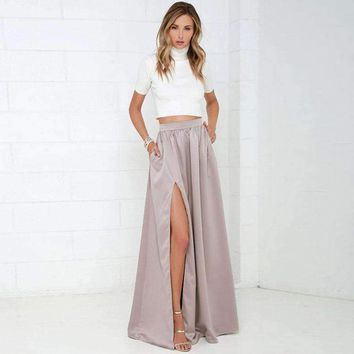 Elegant Women Long Skirt with Pockets Classy Pretty Maxi Skirt with Slits Floor Length A Line Female Skirt for Ladies to Office