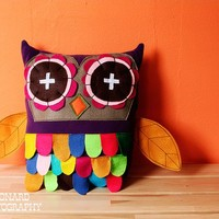 Purple OWL pillow colorful japanese