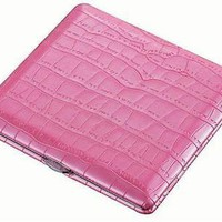 Womens Hot Pink Genuine LEATHER Croc  Embossed  Cigarette Case Nice 1