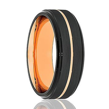 Men's Black Tungsten Carbide Ring W/ Thin Rose Gold Grooved Center Stepped Edges 8mm