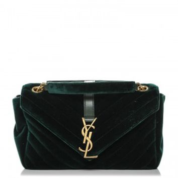 SAINT LAURENT Velvet Matelasse Chevron Medium Monogram Chain Bag New Dark Green