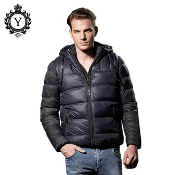 COUTUDI 2016 Winter Male Down Parka Coats Solid Black Nylon Overcoat Waterproof Men Jacket Two-pieces Casual Warm Men's Clothing