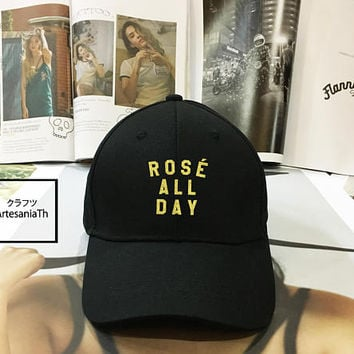 Rose All Day Dad Hat Black White Pink - Baseball Cap, Tumblr hat , Dad Hat Dad Cap Baseball Hat , Low-Profile Baseball Cap Hat