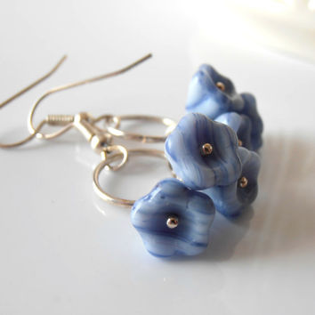 Blue Earrings Glass Flower Beaded Dangles in by FiveLittleGems
