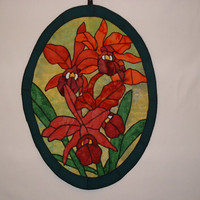 Floral Oval Applique Wall hanging, Homd Decor