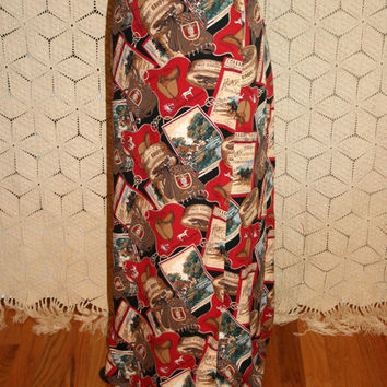 English Polo Horse Print Skirt 90s Skirt Maxi Skirt Long Wrap Skirt Novelty Print Equestrian Size 10 Medium Size 12 Large Womens Clothing