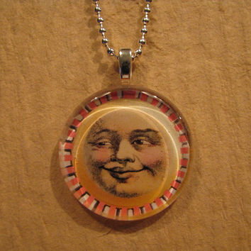 """Golden Smiling Sun Face Flat Larger Round Glass Pendant with 20"""" - 36"""" Chain Necklace in Silver, Sun & Antique Gold, Antique Copper, Black"""