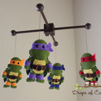 Baby Mobile - Baby Crib Mobile - Ninja Turtle Mobile - Nursery Decor Mobile - TMNT Teenage Mutant Ninja Turtles