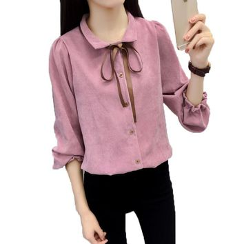 Fashion Women Blouses Long Sleeve Corduroy Shirts Bow Turn Down Collar Shirt Women Tops Loose Lantern Sleeved Camisas Mujer