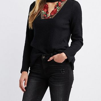 Floral Embroidered Choker Neck Top | Charlotte Russe
