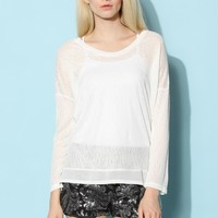 Semi-sheer White Top with Lace Back