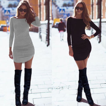 Long Sleeves Bodycon Irregular Pure Color Short Dress