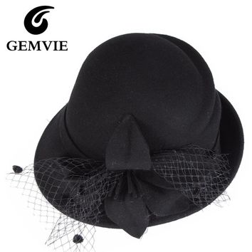 100% Pure Wool Women Solid Fedoras 2016 Autumn Winter Vintage Special Shape Floral Mesh Dome Cashmere Hats 4 Colors