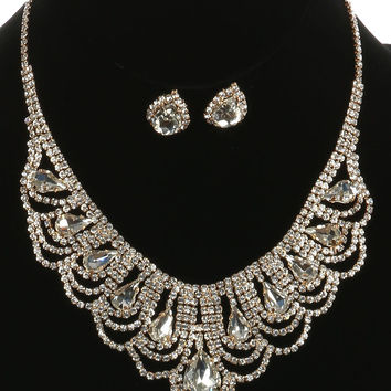 "16"" gold clear crystal bib choker collar necklace .75"" earrings prom bridal"