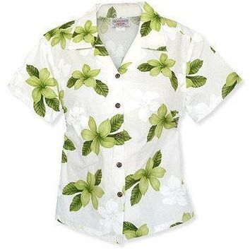 delight green hawaiian lady blouse