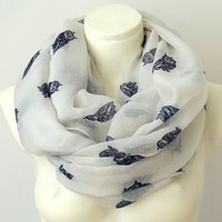 Owl Print Ivory Infinity Scarf  Chunky Scarf Spring Summer Colors Pareo