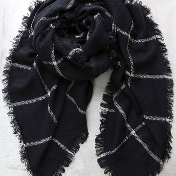 Put Your Arms Around Me Black Grid Print Scarf