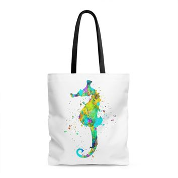 Watercolor Sea Horse Tote Bag