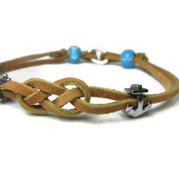 Designer Dog Necklace - Tan Leather dog collar with nautical knot and charms - Dog Tag Necklace