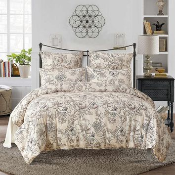 Lai Yin Sun Hot Sale Twin Queen King  Size Bedding Sets Pastoral Printed Floral  Duvet Cover Set Pillowcases RU/US/UK Size Beige