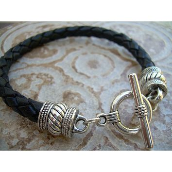 Leather Bracelet, Black Braided, Mens Bracelet, Womens Bracelet, Mens Jewelry